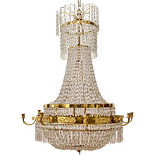 Swedish Empire Gilt And Bronze Chandelier, circa 1820-30