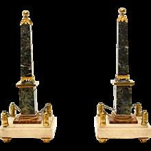 Pair of Louis XVI ormolu mounted marble obelisks