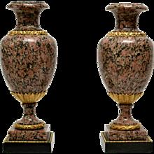A Pair of Large Louis XVI Style Granite Urns, 19th Century