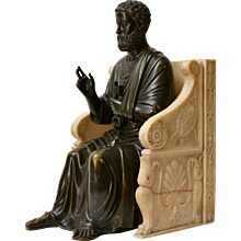 A bronze sculpture of St. Peter seated on a marble throne chair, 19th century after Arnolfo di Cambio (1245-1302)
