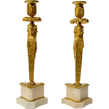 A Rare Pair of Empire Gilt Bronze and Marble Candlesticks, Egyptian style, ca. 1800-1810.
