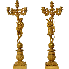 A Pair of French Gilt Bronze and Patinated Empire Candelabras, ca.1825