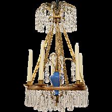 A Russian Gilt Bronze and Blue Glass Chandelier, circa 1800