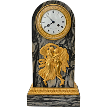 An Empire Gilt Bronze and Marble Mantel clock signed Feuchere & Fossey and Hedouin Hr