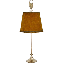 Silver plated lamp, first half of 20th century, signed F. Valenti