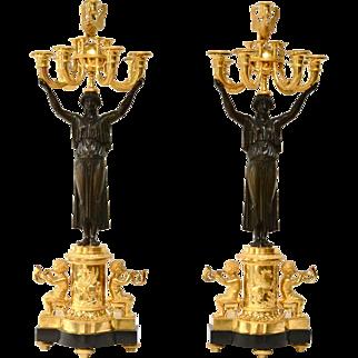 A Pair of Gilt Bronze Empire Candelabra, Paris, Ca.1805
