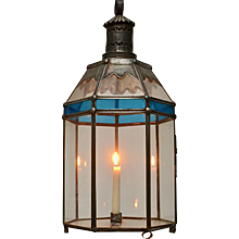 A Swedish Tinplate and Colored Glass Lantern, 19th century
