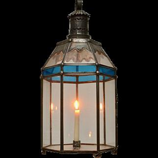A Swedish Tinplate and Colored Glass Lantern, 19th century
