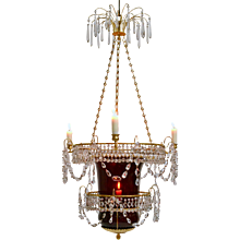 A Russian Empire Rubyglass Lantern Chandelier, 19th Century