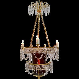 A Russian Empire Rubyglass Lantern Chandelier, 19th Century