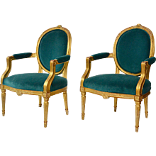 A Very Fine Pair of Gustavian Giltwood Armchairs, Stockholm, ca.1780