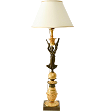 A Gilt And Patinated  Bronze Empire Lamp.