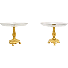 A Pair of Empire Gilt Bronze and Cut Glass Empire Tazzas Surtout de Table