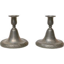 A Pair of Gustavian Pewter Candlesticks Signed Baltzar Rokus  (1743-1788), Arboga