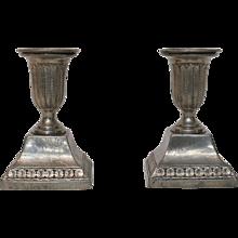 A Pair of Gustavian Pewter Candlesticks, Signed Justelius 1824, Eksjö