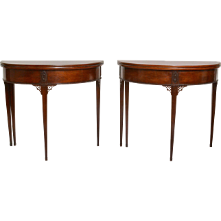 A Rare Pair of Gustavian Mahogany Games  Tables Attributed to Carl Diedrik Fick (1776-1806)