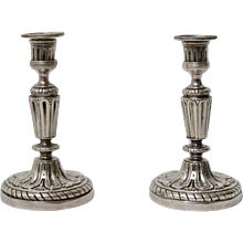 A Pair of 18th Century Argent Haché Candlesticks