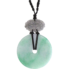Green and Grey Jade Pendant