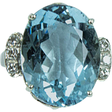 1960s Aquamarine Diamond Gold Ring