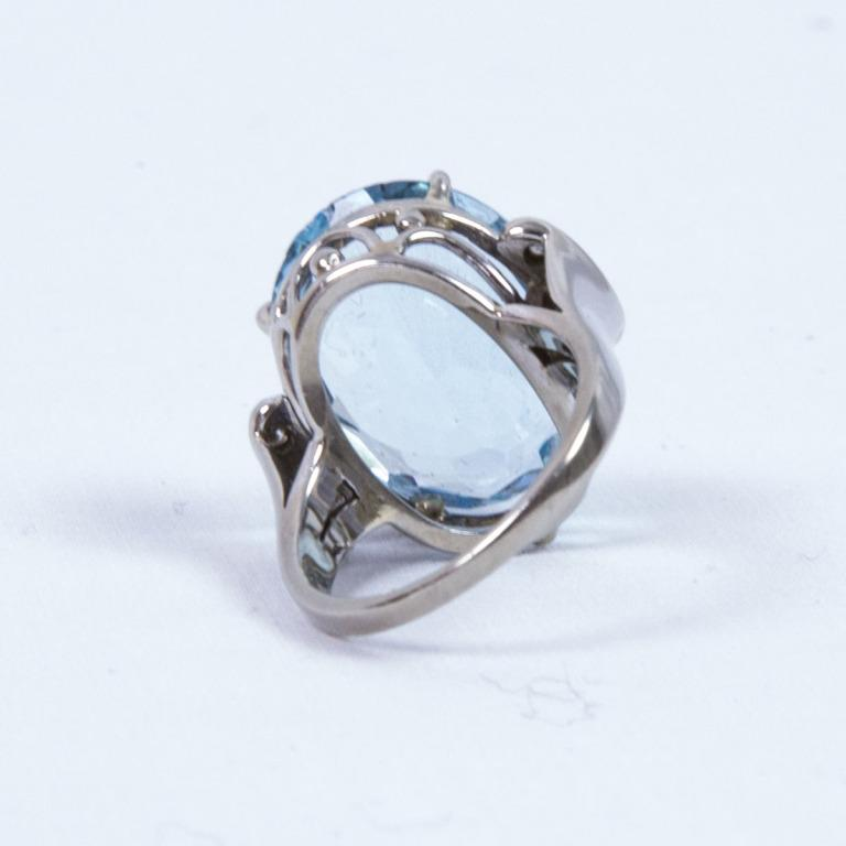 1960s Aquamarine Diamond Gold Ring From Coach House On Rubylux