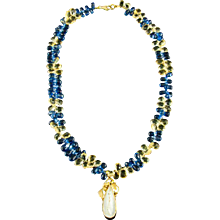 Sapphire Citrine Briolettes Pearl Briolettes Necklace