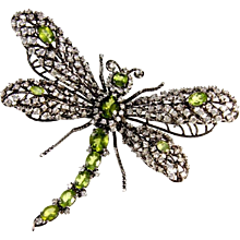 Tremble Articulated Dragonfly Sterling Silver Peridot CZ Brooch Pin