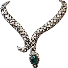 Snake Crystal encrusted Serpent Sterling Necklace