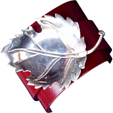 Sterling Silver Leaf Leather Cuff Bracelet
