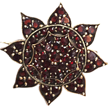 Garnet Gold Pin Brooch Bohemian 19th C