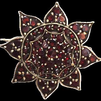 Garnet Gold Pin Brooch Bohemian 19th C