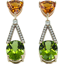 Citrine Peridot Diamond Gold Drop Earrings
