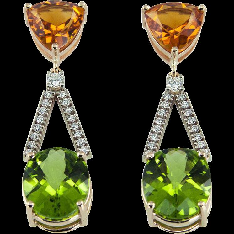 Citrine Peridot Diamond Gold Drop Earrings From Coach