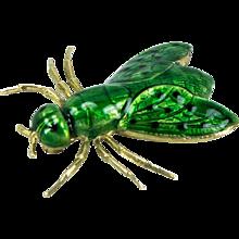 Green Enamel Gold Fly Brooch Pin