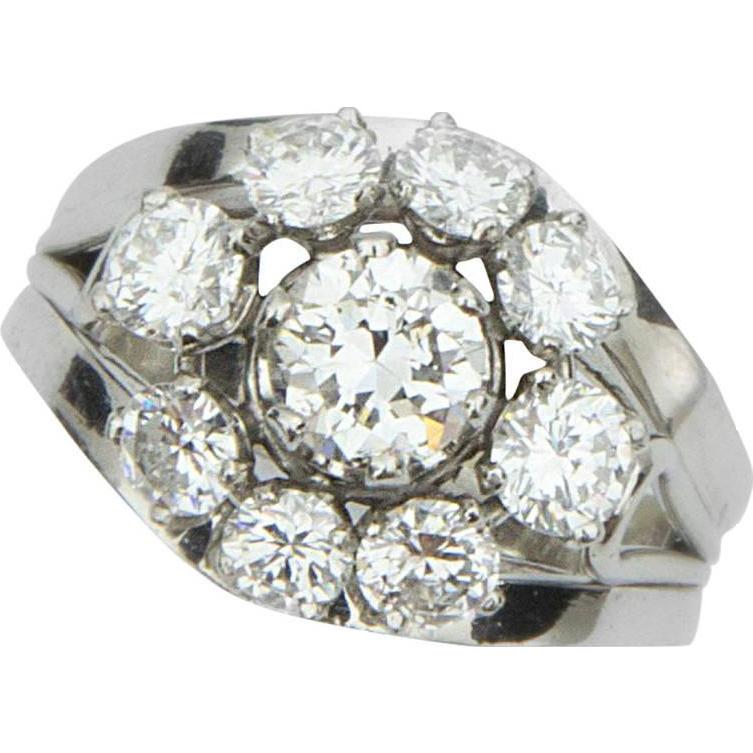 House Platinum: Mid Century Modern Diamond Platinum Cluster Ring : Coach