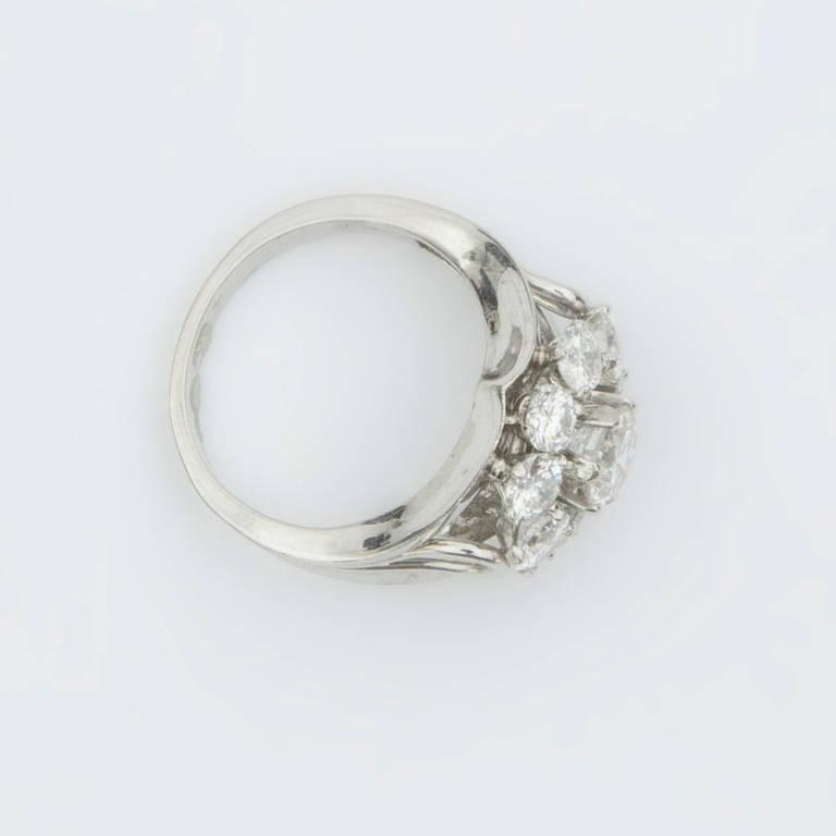 House Platinum: Mid Century Modern Diamond Platinum Cluster Ring From