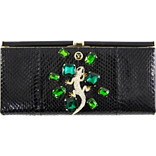 Extraordinary Valentino Garavani Haute Couture Black Swarovski Lizard  Jewel Clutch Bag