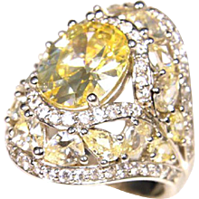 Stunning 14k White Gold Retro 1950s Citrine Ring