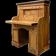 A Japanese Meiji Yosegi (Hakone) marquetry kneehole desk