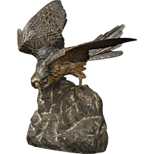 Cold Painted Vienna Bronze Falcon on Rock by Franz Bergman.