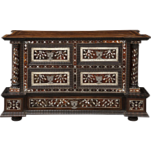 An 18th century Peruvian tortoiseshell, and mother of pearl inlaid table cabinet