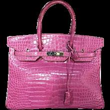 Hermès Birkin 35 Crocodile Porosus Rose Sheherazade