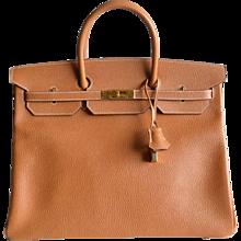 Authentic Hermès Birkin 40 in Vache Ardennes Gold