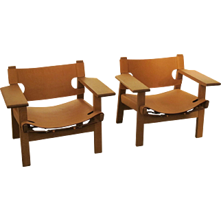 Duo of Spanish Chairs by Børge Mogensen for Fredericia Stolefabrik, 1959