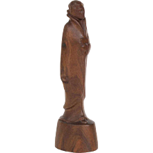 L.G. Verstoep, Teak Art Deco Sculpture of a Modern Japanese Lady, 1920's