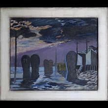 Nicolaas Wijnberg, Beach by Moonlight, Oil Painting 1952