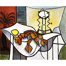 Lobster, lemon and a lamp on a table | 2016 | Oil painting | Erik Renssen (NL.1960)