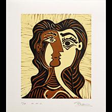 Girl with Brown Hair | 2013 | Linocut | Erik Renssen (NL. 1960)
