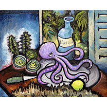 Octopus, Oysters & Lemon on a Table | 2013 | Oil painting | Erik Renssen (NL. 1960)