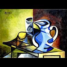 Pitcher, Glass & Lemon I | 2014 | Oil painting | Erik Renssen (NL. 1960)