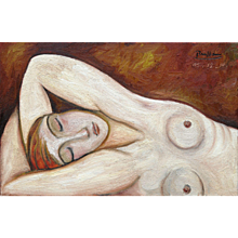 Reclining Nude with Red Hair | 2014 | Oil & sand on canvas | Erik Renssen (NL. 1960)